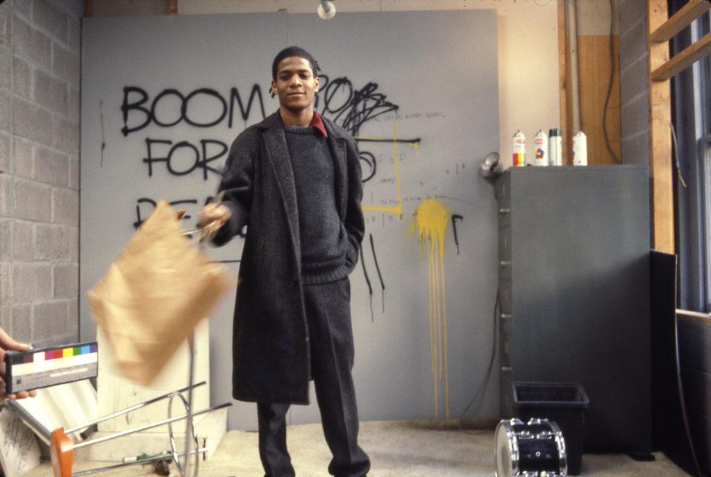 Edo Bertoglio, Jean-Michel Basquiat on the set of Downtown 81, 1980–81, © New York Beat Film LLC, By permission of The Estate of Jean-Michel Basquiat, Licensed by Artestar, New York.