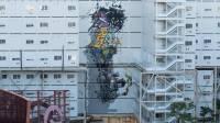Fresque monumentale réalisée par Brusk, association Arts en Ville, Paris Montparnasse, tous droits réservés