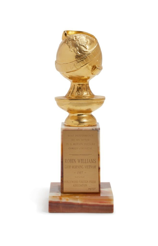 Golden Globe awarded to Robin Williams for his performance in Good Morning Vietnam (1987), Photo courtesy of Sotheby's