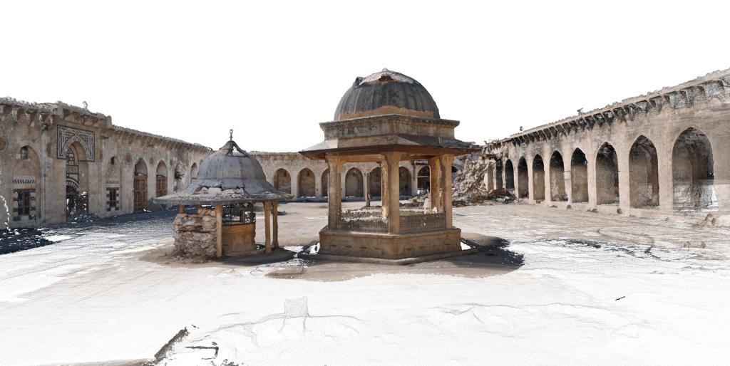 Image 3D de la cour de la mosquée des Omeyyades d'Alep, Syrie