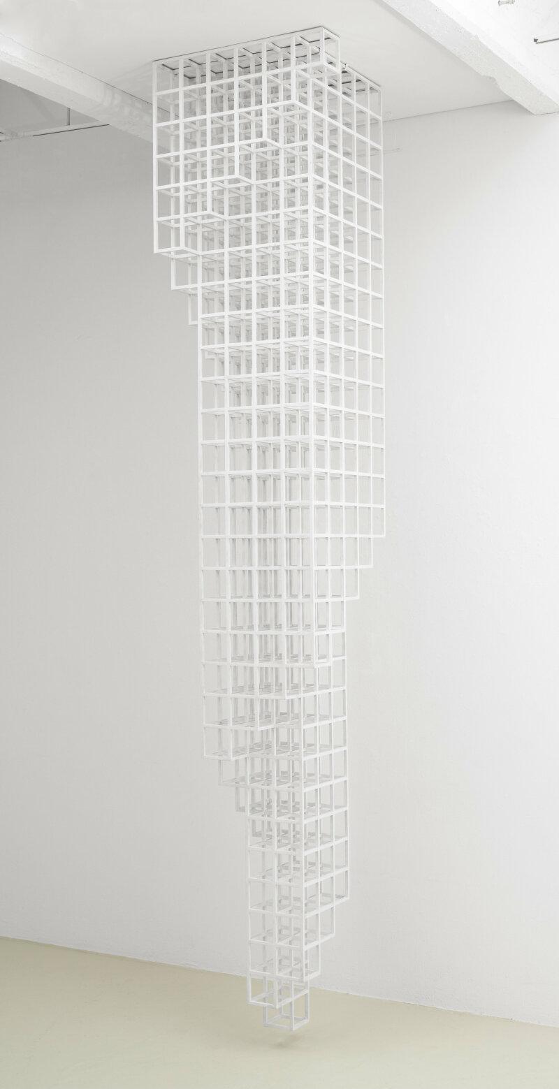 "Sol LeWitt, Inverted Spiraling Tower, 1987wood painted white12' 3-3/4"" x 2' 5"" x 2' 5"" (375.3 cm x 73.7 cm x 73.7 cm)SCULPTURENo. 36644, Format of original photography: digital"