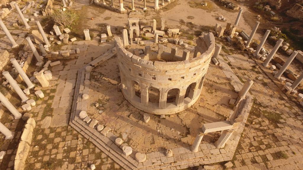 Vue aérienne du marché de Leptis Magna, Libye