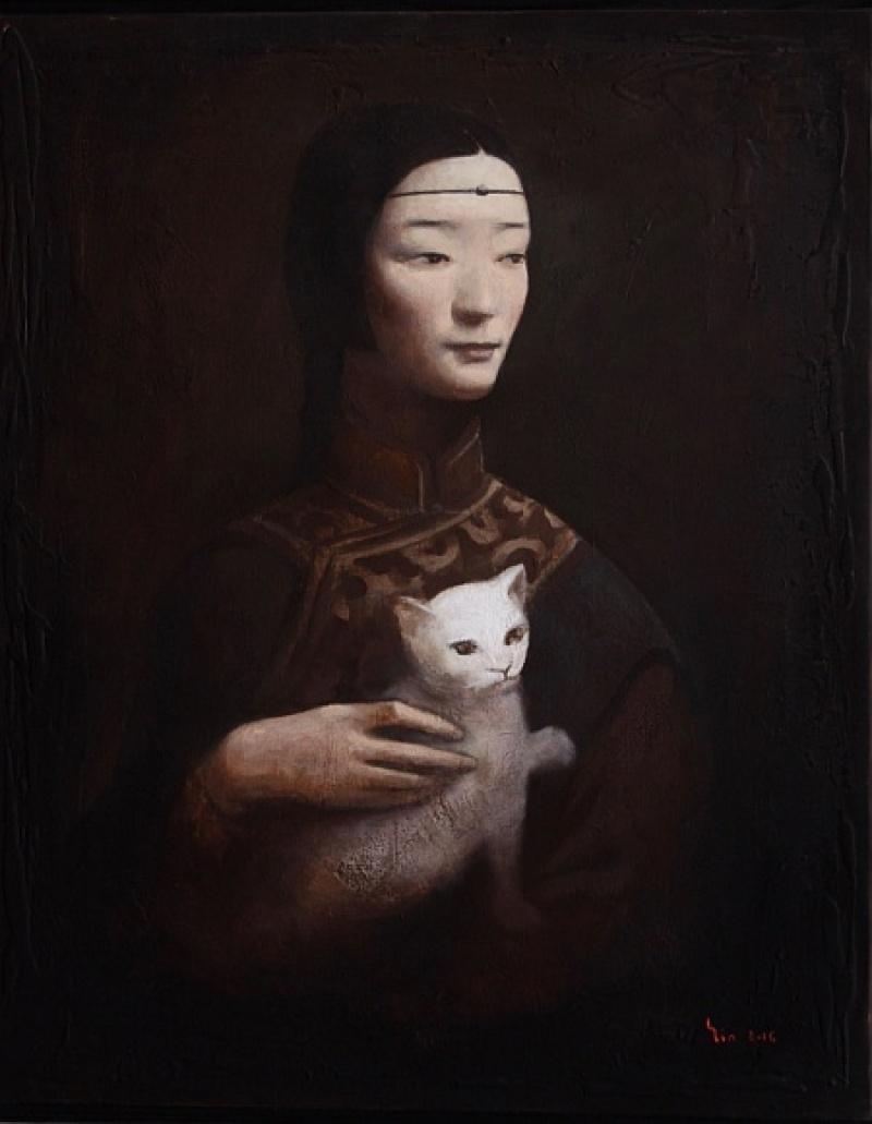 Yin Xin, La Dame à l'hermine, d'après Léonard da Vinci