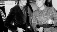 XRA1645219 French Dress Designer Yves Saint Laurent With Actress Catherine Deneuve After Fashion Show of Winter-Summer Collection January 29, 1968 (b/w photo); (add.info.: Yves Saint Laurent et Catherine Deneuve apres la presentation de la collection Printemps-Ete le 29 Janvier 1968 Neg:C80445 --- french dress designer Yves Saint Laurent with actress Catherine Deneuve after fashion show of winter-summer collection january 29, 1968); Photo © AGIP; RESTRICTIONS MAY APPLY FOR NON-EDITORIAL USE - PLEASE CONTACT US;  out of copyright