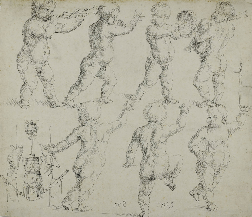 Albrecht Dürer, Putti danseurs etmusiciens, avec un trophée antique, 1495