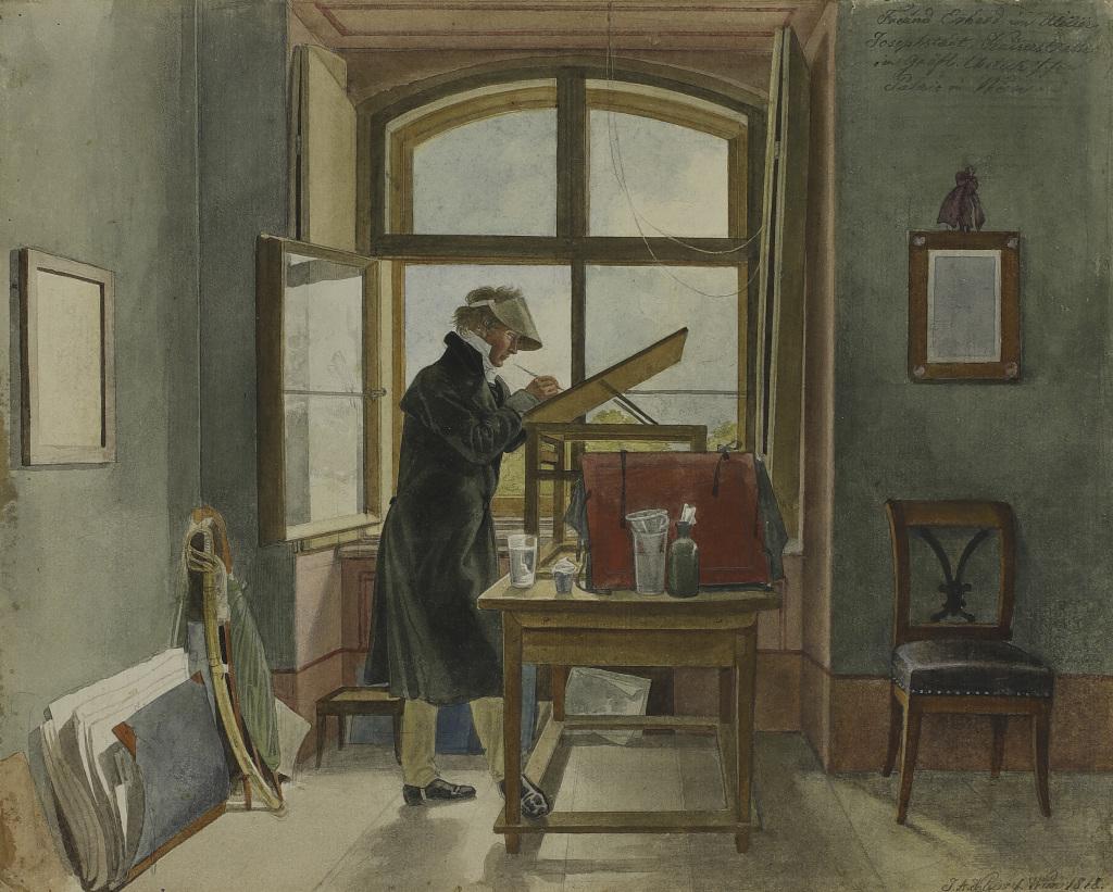 Johann Adam Klein, Le Peintre Johann Christoph Erhard dans son atelier, 1818