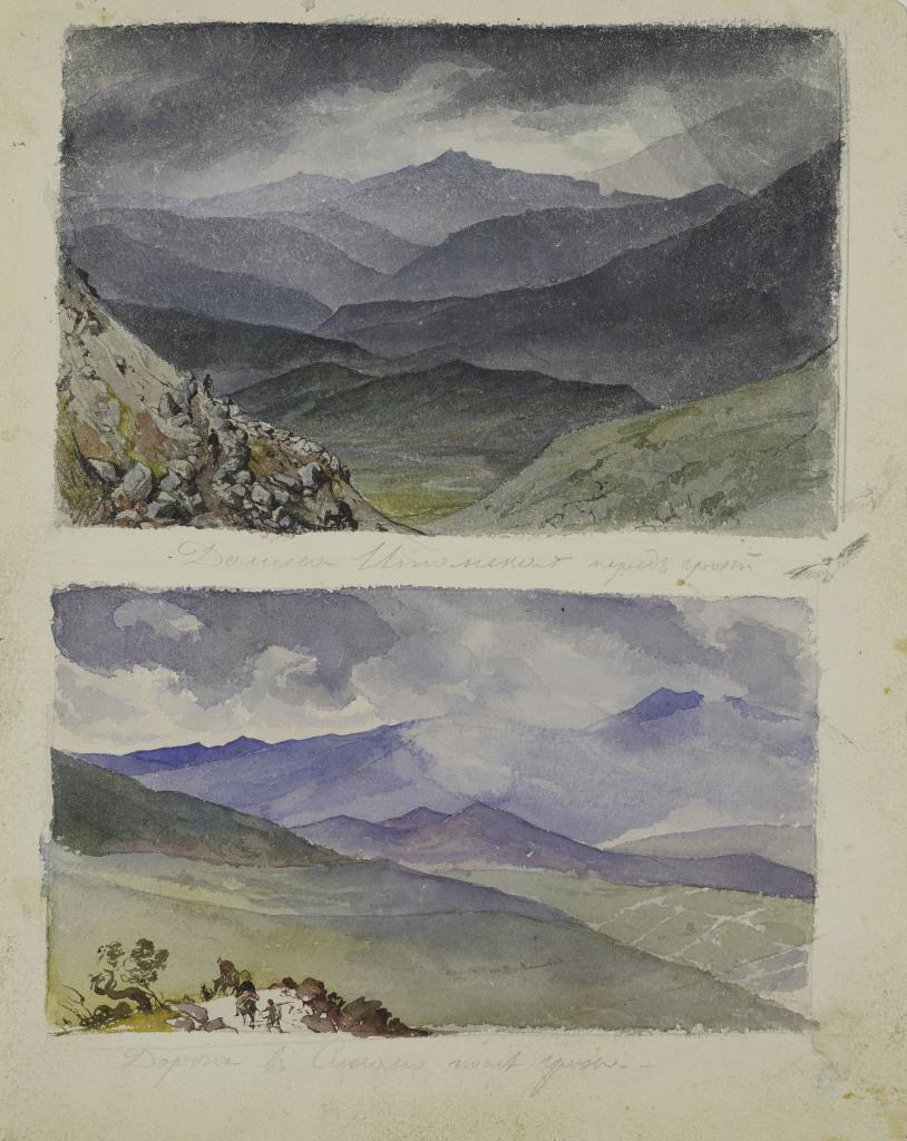Karl Brioullov, Vallée d'Ithôme avant l'orage, Chemin de Sinano après l'orage, 1835