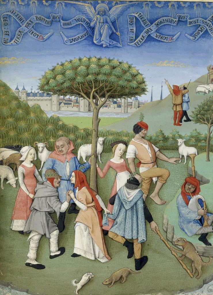Ronde autour de l'arbre. Heures de Charles d'Angoulême, Angoumois, vers 1480