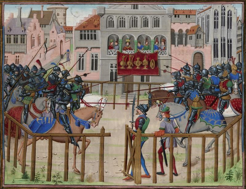 Les trophées du tournoi. Quinte Curce, Histoire d'Alexandre, Flandre (Bruges), 1470.