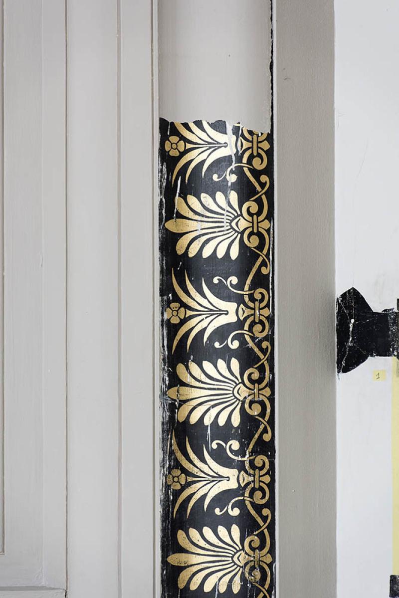 Le Musée de Picardie en  travaux d'extension et de rénovation. Mai 2018, Amiens. Des décors peints remontant à sa construction, entre 1855 et 1867, sont  mis à jour par  l'atelier Mériguet-Carrere.