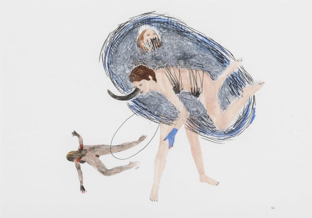 Annabelle Guetatra, Les éléphants de mer 3, 2018 Technique mixte sur papier, 29,7 x 42 cm