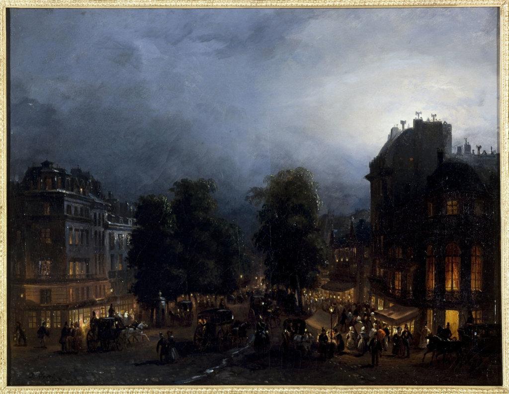 Domenico Ferri, Le boulevard des Italiens de nuit, 1835