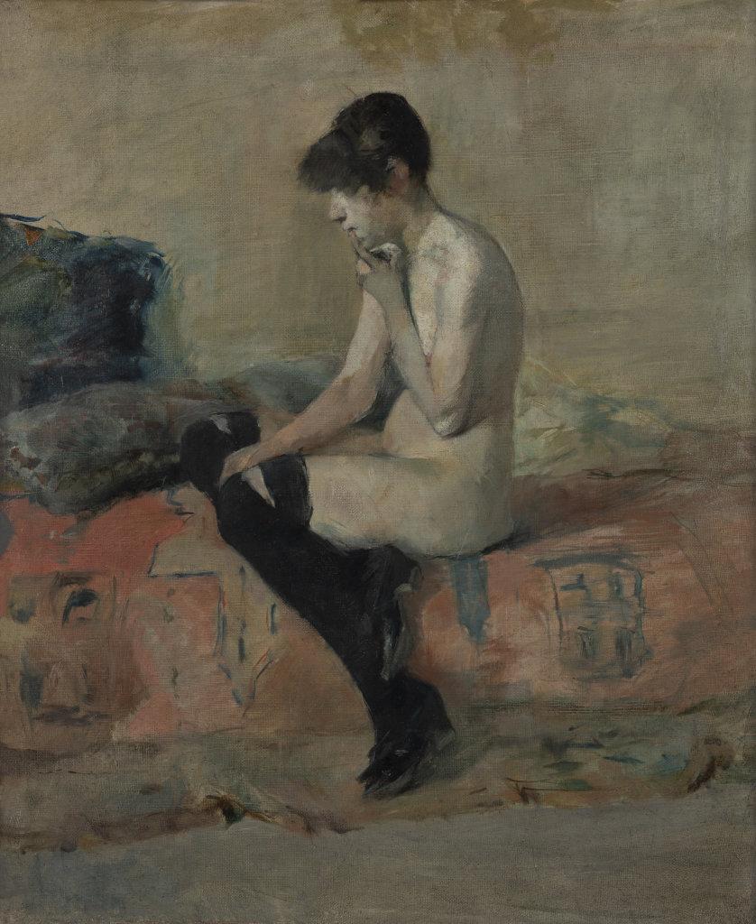 Etude de nu (nu assis sur un divan)
