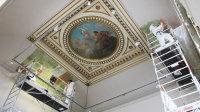 Le Musée de Picardie en  travaux d'extension et de rénovation. Mai 2018, Amiens.Des décors peints remontant à sa construction, entre 1855 et 1867, sont  mis à jour par  l'atelier Mériguet-Carrere.