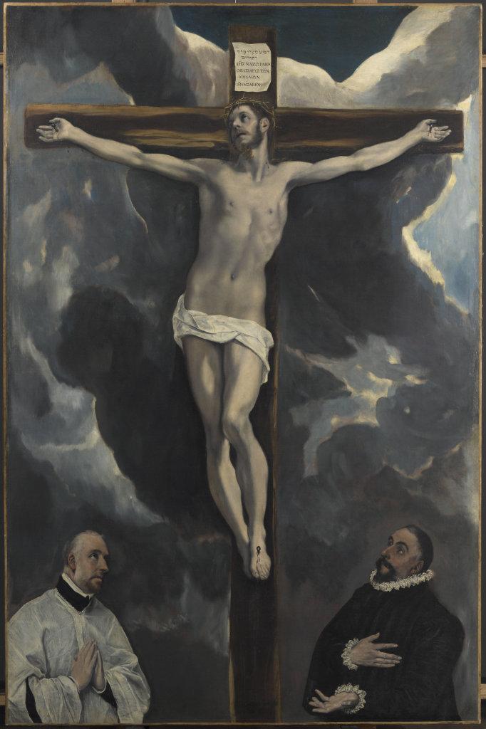 Le Christ en croix adoré par deux donateurs