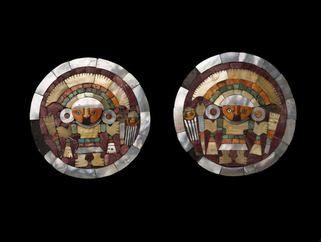 Paire d'ornements d'oreilles Pérou – Côte Nord Culture Chimu Intermédiaire récent 1100 – 1470 ap. J.-C.