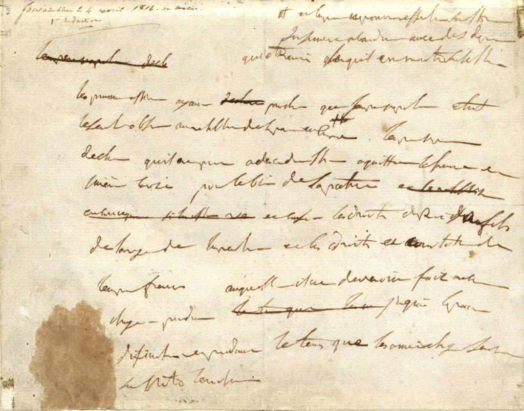 Napoléon Ier, brouillon de son acte d'abdication