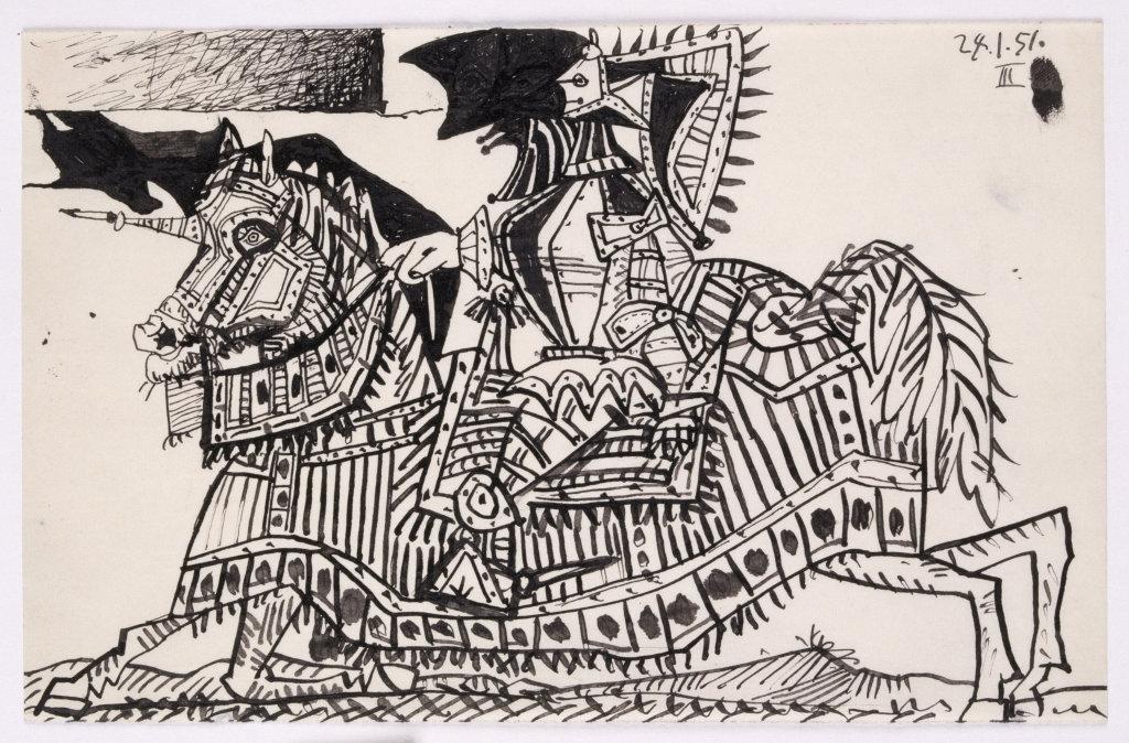Pablo Picasso (1881-1973), Cheval caparaçonné et chevalier en armure, 24 janvier 1951