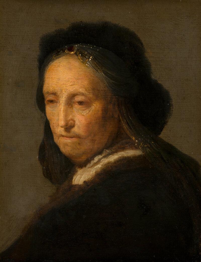 Kopie naar Rembrandt, Studie van een oude vrouw ('Rembrandts moeder'), c. 1630-1635