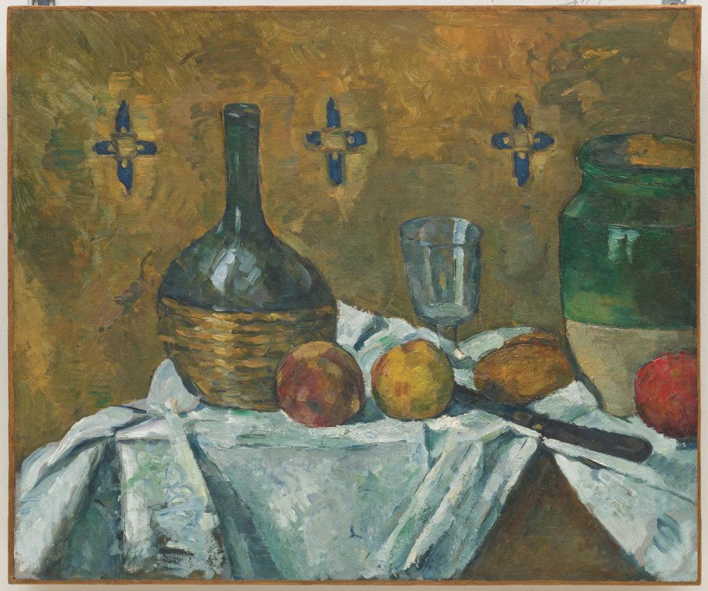 Paul Cézanne, Still Life: Flask, Glass, and Jug (Fiasque, verre et poterie), 1877