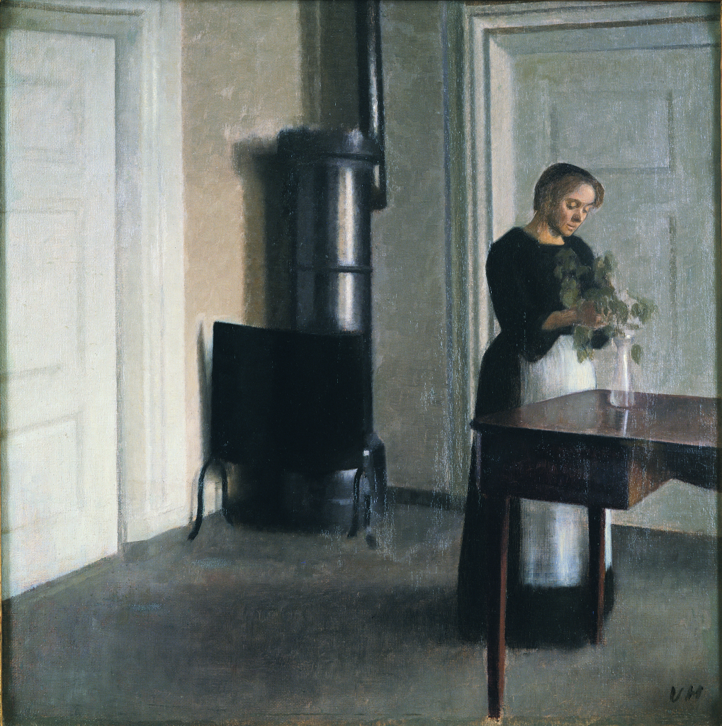 Vilhelm Hammershøi, Interior of Woman Placing Branches in Vase on Table, 1899