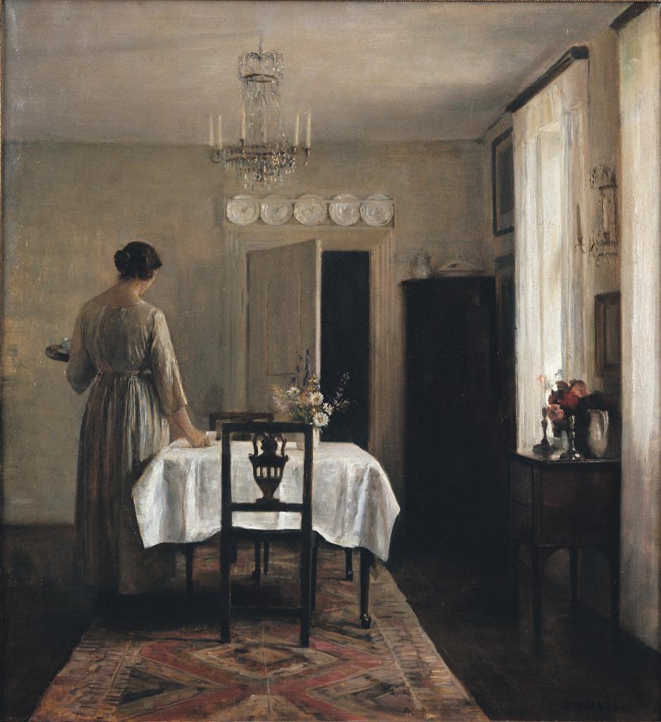 Carl Holsøe, Artist's Wife Setting Table