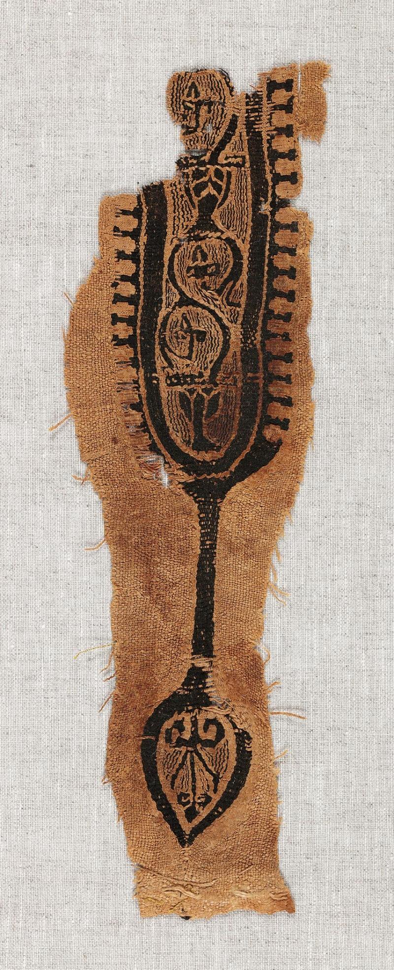 Lin et laineChaîne: 7 cm, trame: 24 cmÉgypte, 5e-6esiècle Don de Maria Luise Fill et Robert Trevisiol, Coll. Fondation Roi Baudouin