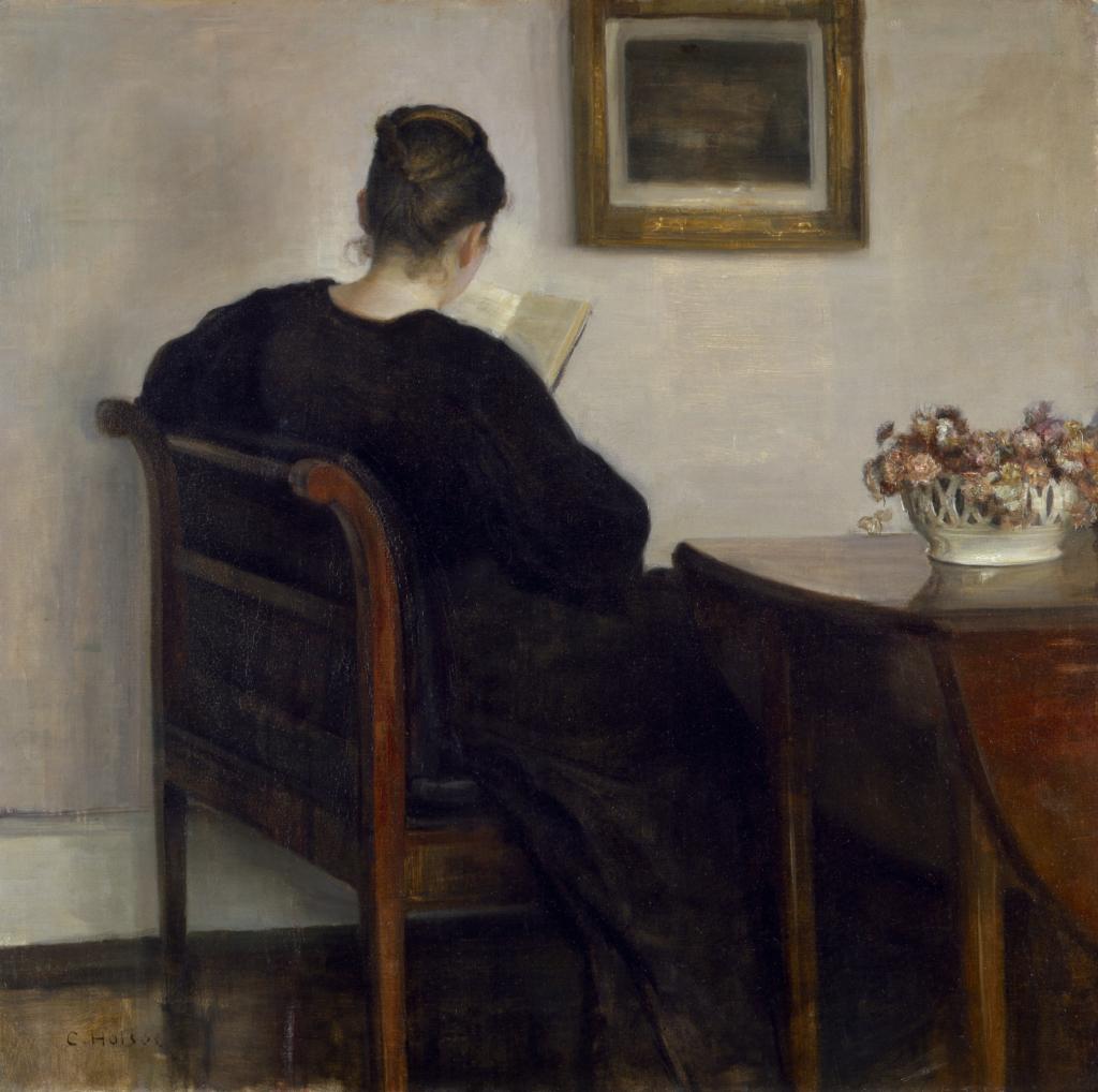 Carl Holsøe, Interior. Laesende dame, 1886