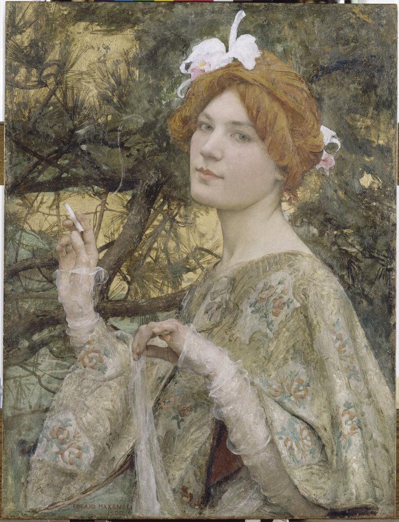 Edgard Maxence, Femme à l'orchidée, vers 1900