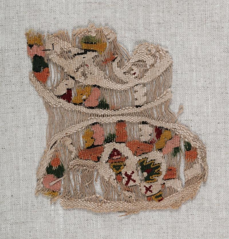 Lin et laineChaîne: 10 cm, trame: 8,7 cmÉgypte, 6e-9esiècle Don de Maria Luise Fill et Robert Trevisiol, Coll. FondationRoi Baudouin
