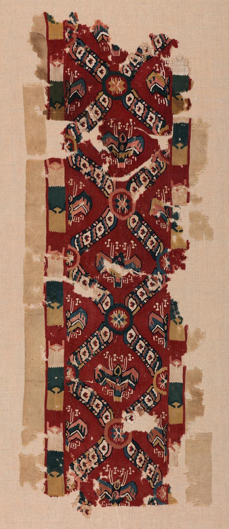 Lin et laineChaîne: 28 cm, trame: 77 cmÉgypte, 6e-9esiècles Don de Maria Luise Fill et Robert Trevisiol, Coll. Fondation Roi Baudouin