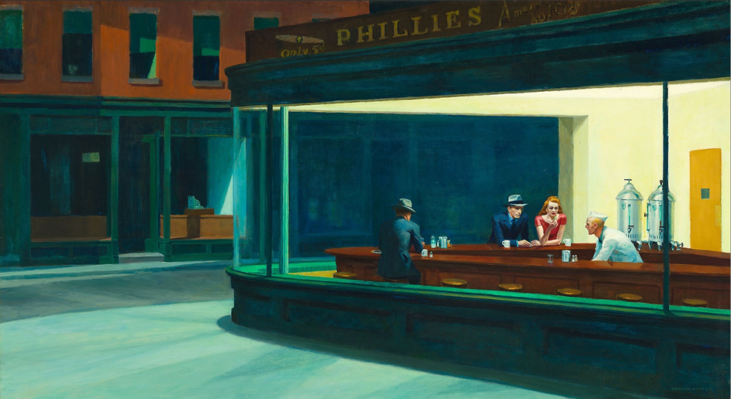 Nighthawks, 1942, Edward Hopper © Chicago Art Institute