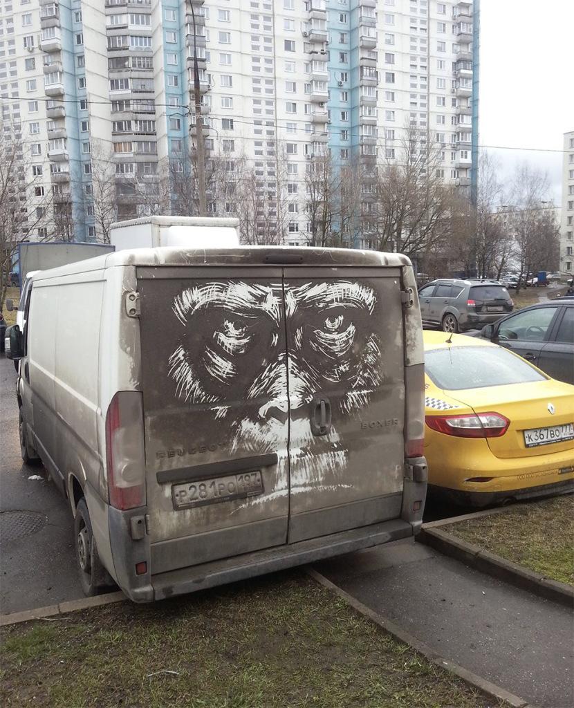 oeuvre d'art sur des voitures