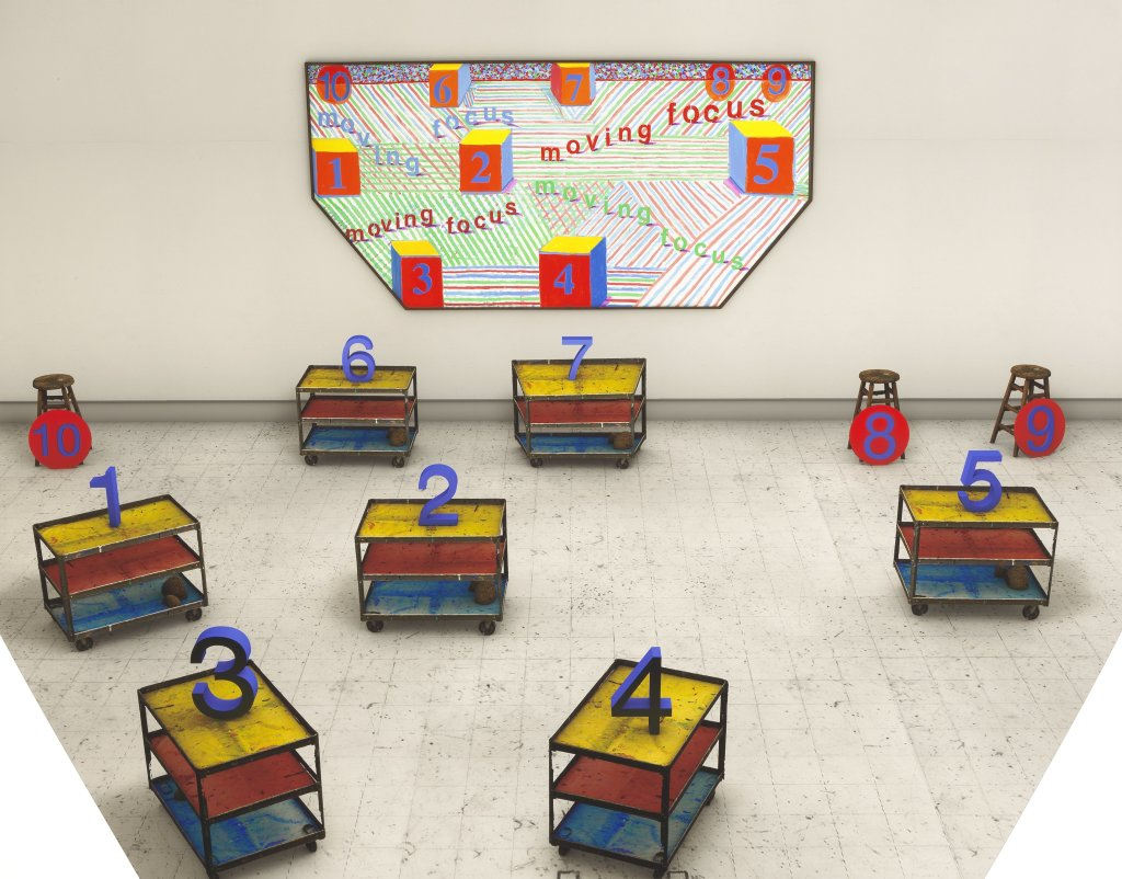 David Hockney, Seven Trollies, Six and a Half Stools, Six Portraits, Eleven Paintings, and Two Curtains, 2018
