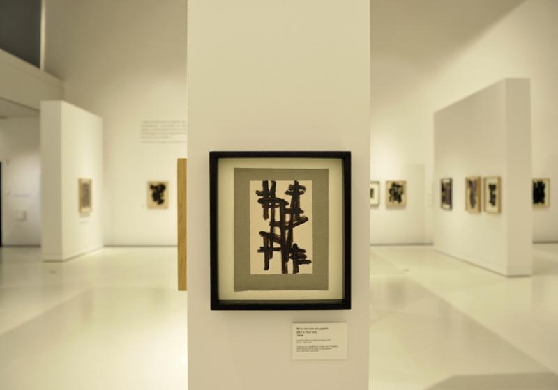 Vue de l'exposition Pierre Soulages, oeuvres sur papier - Musée Soulages, Rodez (29)